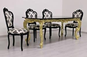 Luxury Oro tavolo, Tavolo intagliato, finitura oro, piano in granito, di lusso