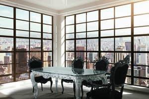 Luxury, Tavolo classico di lusso con piano in vetro e finitura color argento