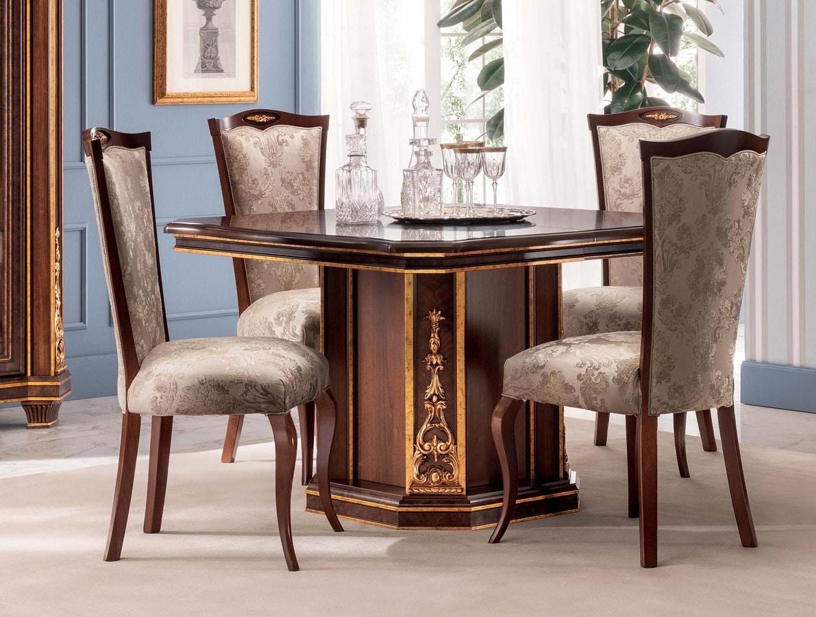 Modigliani tavolo quadrato, Tavolo da pranzo quadrato, stile impero