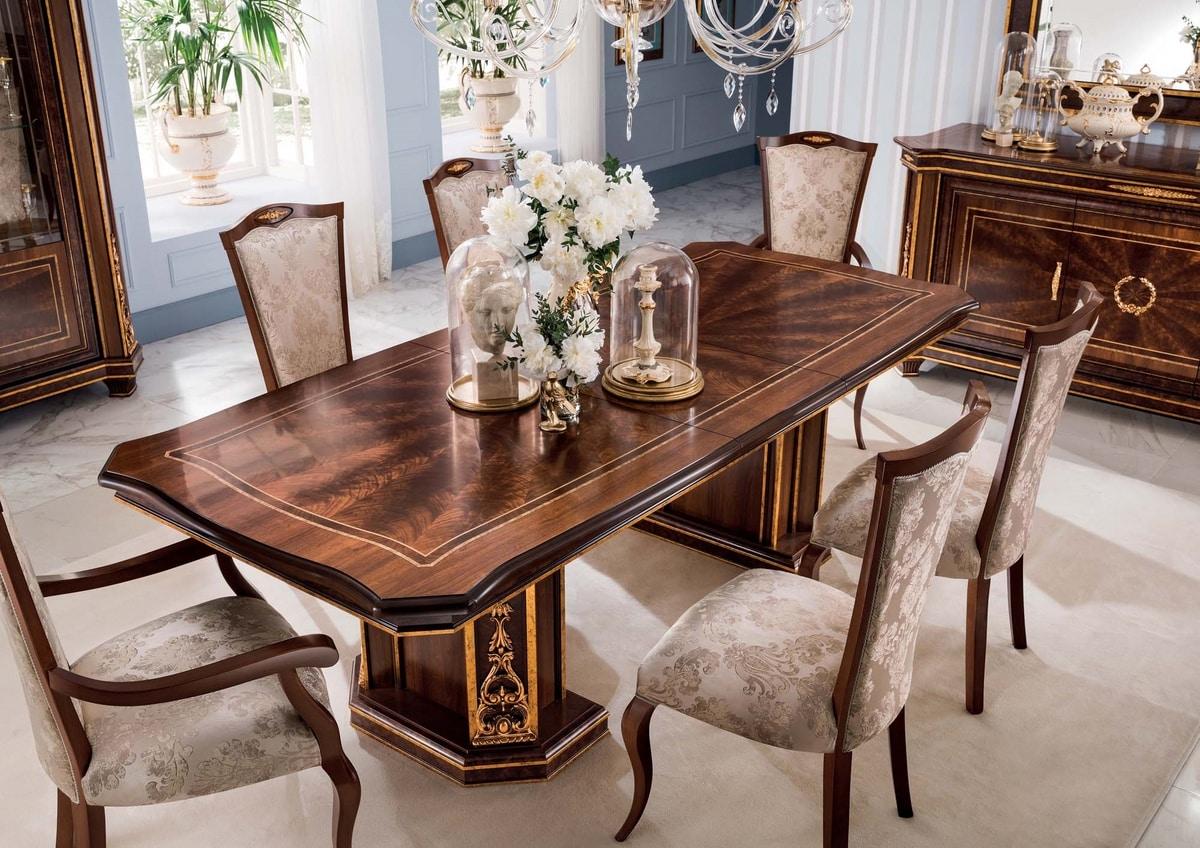 Modigliani tavolo rettangolare, Tavolo da pranzo in stile impero