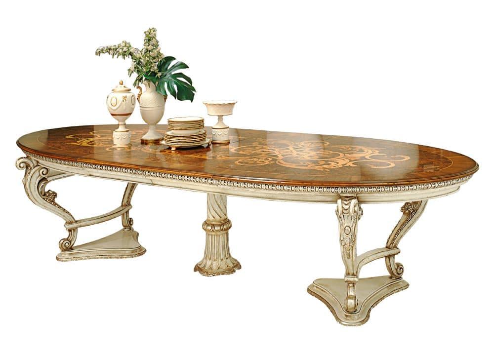 Tavolo allungabile laccato e intarsiato in stile classico idfdesign - Tavolo allungabile classico ...