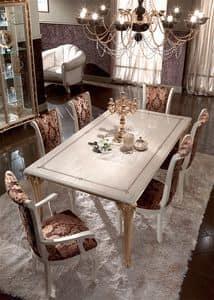 Raffaello tavolo, Tavoli da pranzo, in legno decorato con foglia oro, per sale da pranzo prestigiose