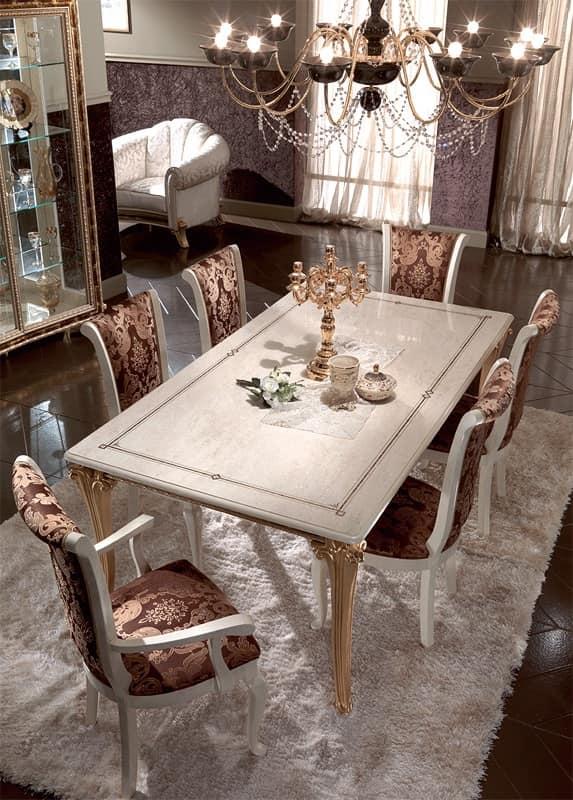 Tavoli da pranzo in legno decorato con foglia oro per for Tavoli da pranzo in legno