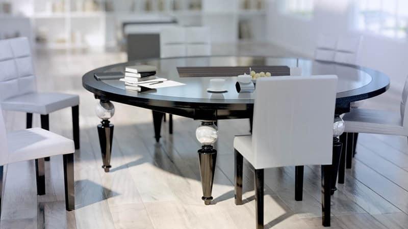 Tavoli Classici In Cristallo.Tavolo Classico Con Piano In Vetro E Legno Gambe Decorate Idfdesign