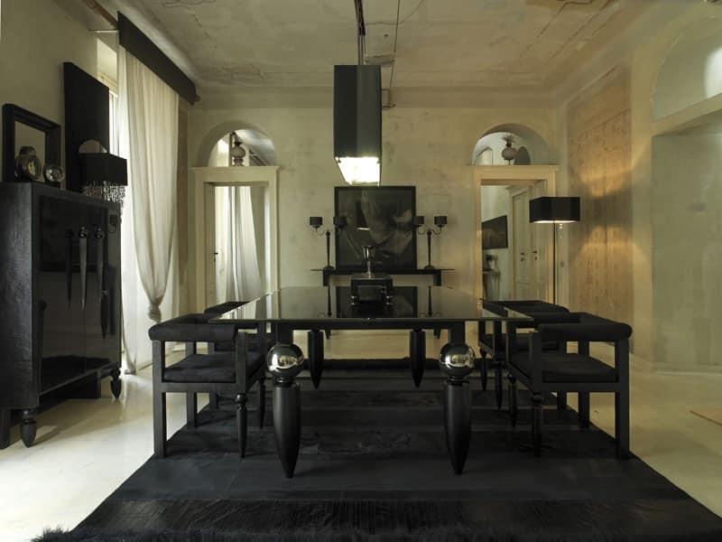 Tavolo classico con piano in vetro e legno gambe decorate for Tavolo classico