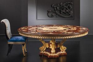 Roma RM164, Lussuoso tavolo tondo, con base intagliata