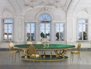 SET DINING MALACHITE 1, Tavolo da pranzo con piano in malachite
