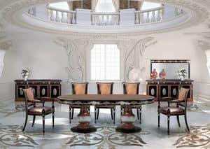 SivigliaVip, Tavolo ovale da pranzo in stile classico di lusso