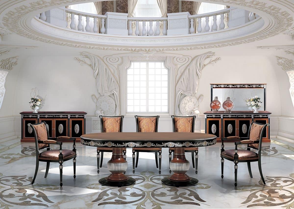 Tavoli classici di lusso prezioso tavolo in legno decori applicati a mano da tavolo rotondo in - Tavoli da pranzo classici ...