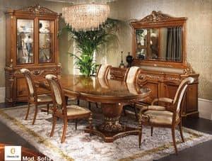 Sofia, Arredo classico per sala da pranzo, tavolo intarsiato