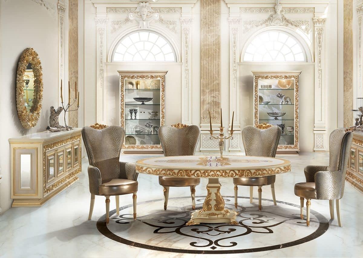 Tavolo tondo laccato bianco con decori foglia oro  IDFdesign