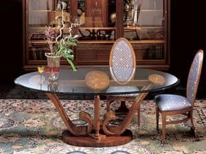 T482 Le volute, Tavolo ovale da pranzo in legno, piano in cristallo