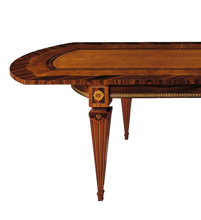 T522 Sinfonia tavolo, Tavolo intarsiato, con allunghe, per sala da pranzo