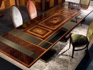 TA27 Luci della ribalta, Tavolo allungabile, piano a specchio, in stile classico