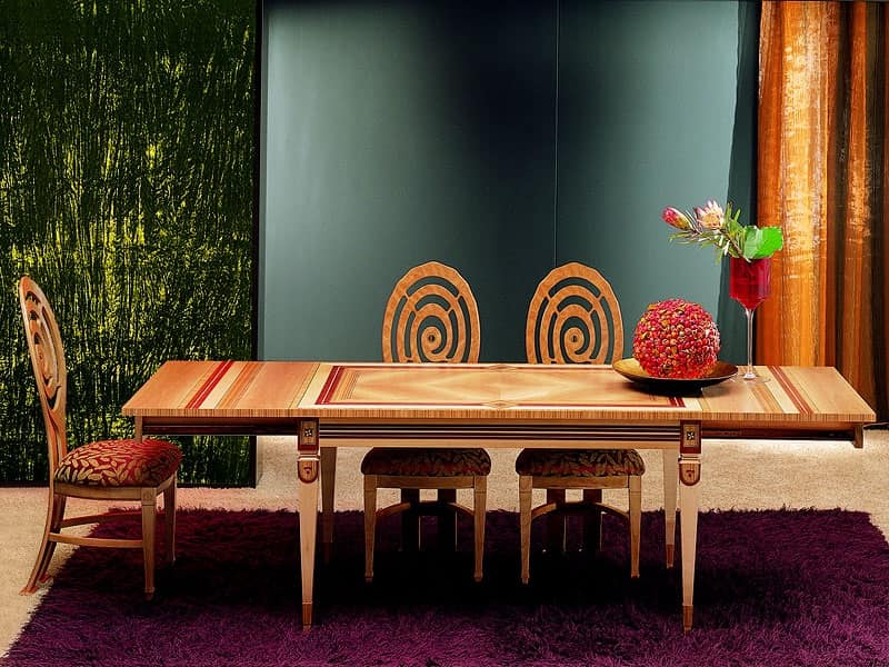 TA29 Piccolo grande tavolo, Tavolo con allunghe, zona giorno, per Hotel di lusso