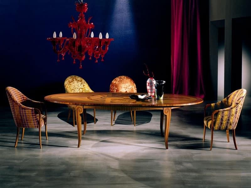TA31 Arte, tavolo importante, tavolo soggiorno, tavolo classico allungabile S...