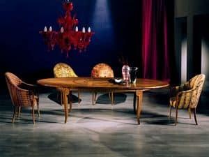 TA31 Arte, Tavolo allungabile, in legno intarsiato, per soggiorno