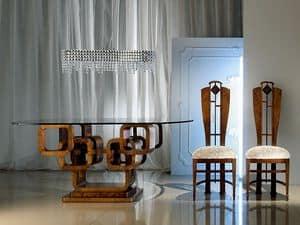 TA34 Glamour, Tavolo ovale, piano in cristallo, base ad anelli di legno