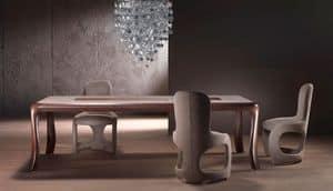 TA54 Botero, Tavolo in legno massello, piano intarsiato con motivo geometrico