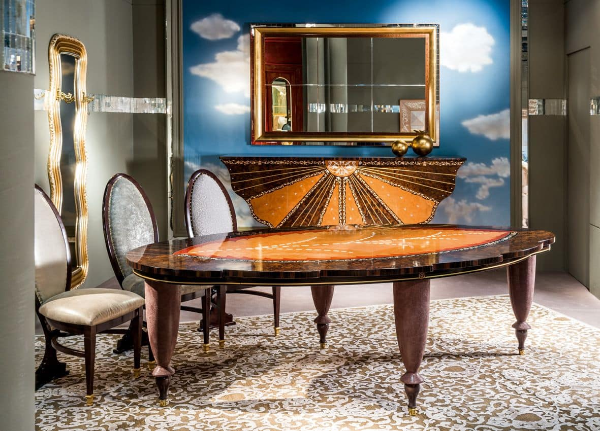 Tavolo classico con piano a forma di foglia idfdesign for Immagini di tavoli