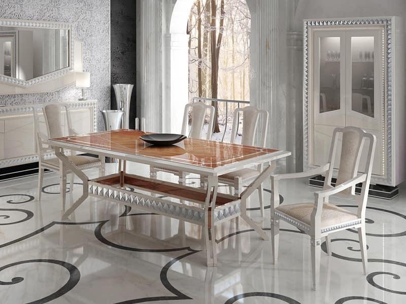 Tavolo da pranzo finitura laccato bianco perlato idfdesign for Tavolo pranzo bianco