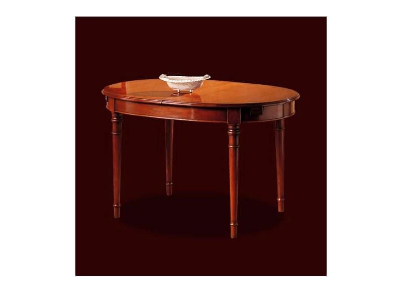 Tavolo allungabile ovale in ciliegio stile classico for Arredamento classico lusso