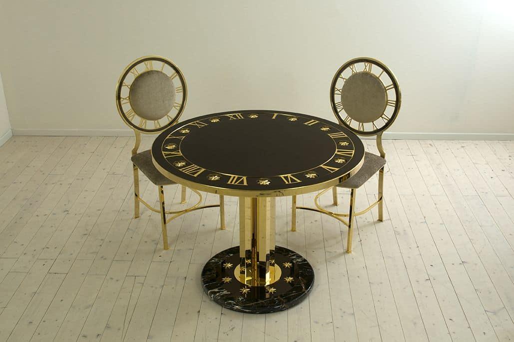 Tavolo T14, Tavolo rotondo in ottone per sala da pranzo, tavolo classico di l...
