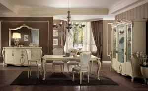 Tiziano tavolo, Tavolo rettangolare, gambe finemente lavorate, color avorio, per sale da pranzo classiche eleganti