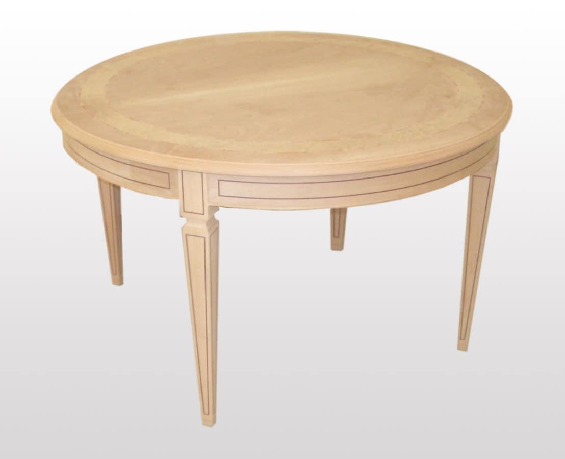 Tavolo allungabile tondo, in stile classico, gambe intarsiate  IDFdesign