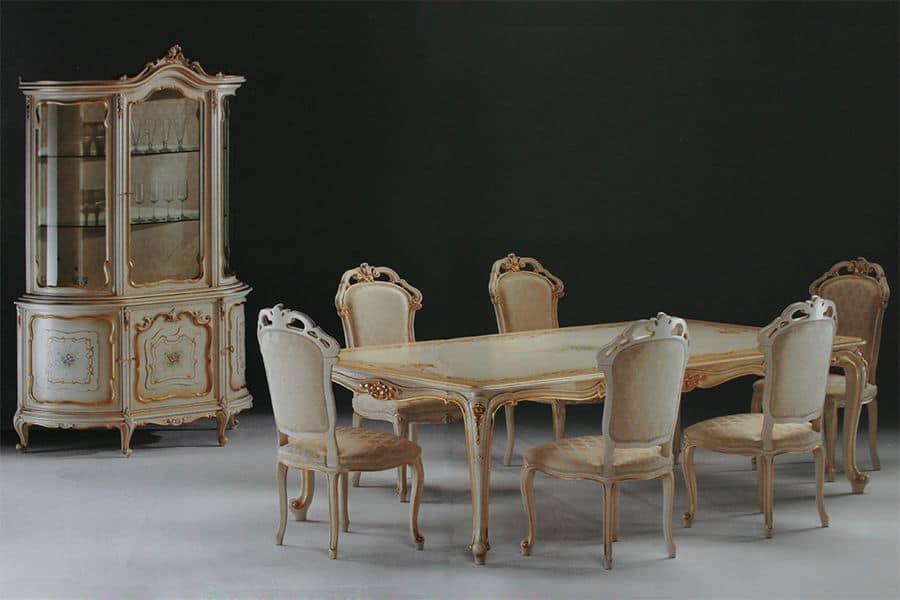 Tavolo rettangolare intagliato per ambienti in stile - Tavoli da pranzo classici ...