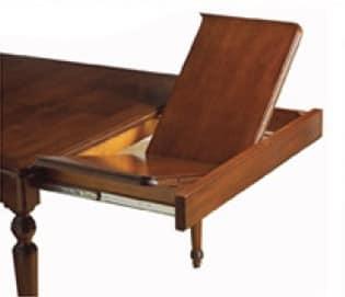 Voltaire tavolo quadrato, Tavolo allungabile quadrato, classico, con cassetto
