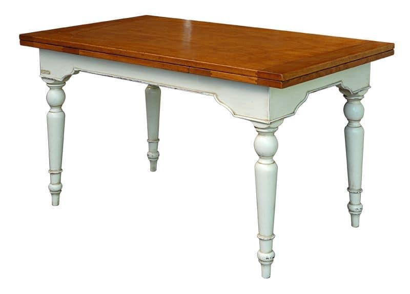 Yvette BR.0111.A, Tavolo allungabile in legno, piano lucidato, per ambienti in stile classico
