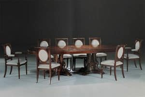 Zeus, Tavolo ovale intarsiato per sale da pranzo e sale riunione