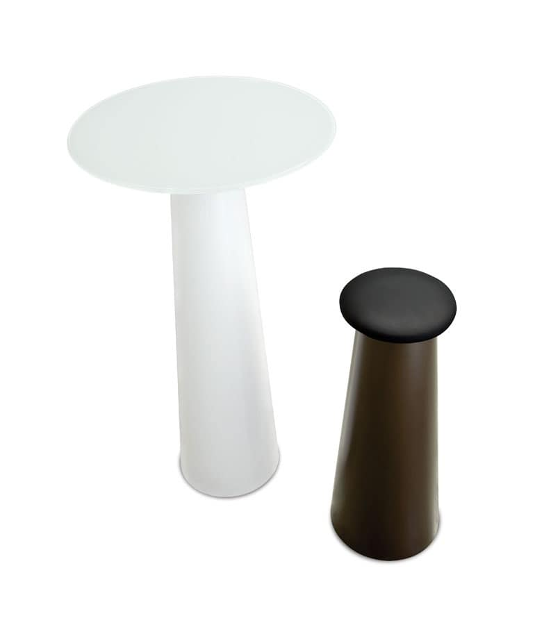 Tavolo molto alto con piano rotondo idfdesign for Tavoli alti design