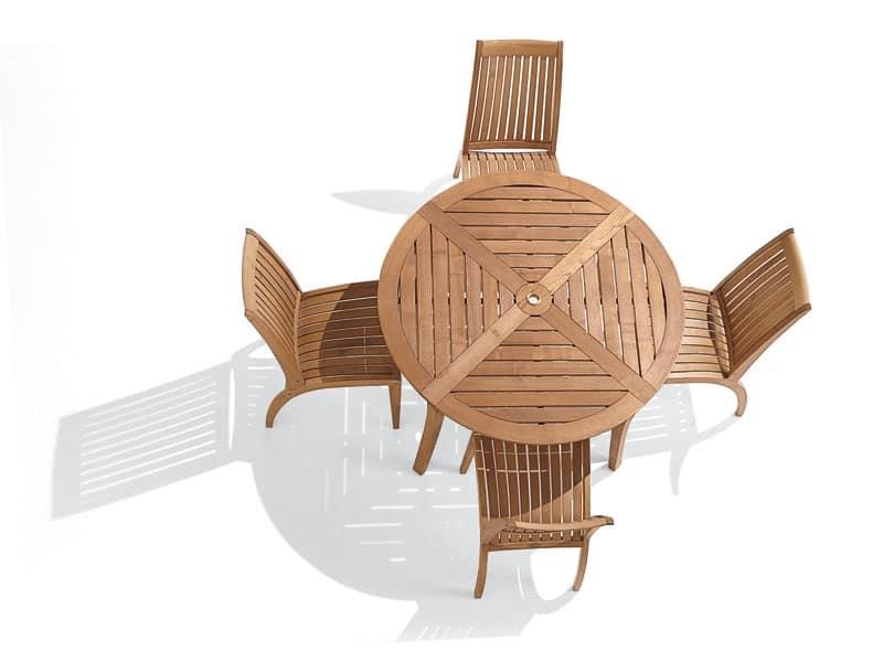 Dream tavolo tondo, Tavolo tondo in legno, per giardini e piscine
