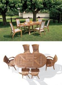 Eclypse tavolo ovale allungabile, Tavolo ovale allungabile in legno, per giardino
