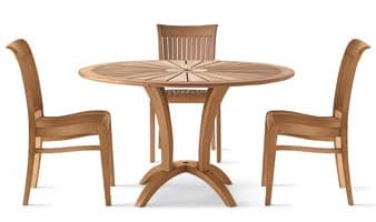 Eclypse tavolo tondo, Tavolo tondo in legno per uso esterno
