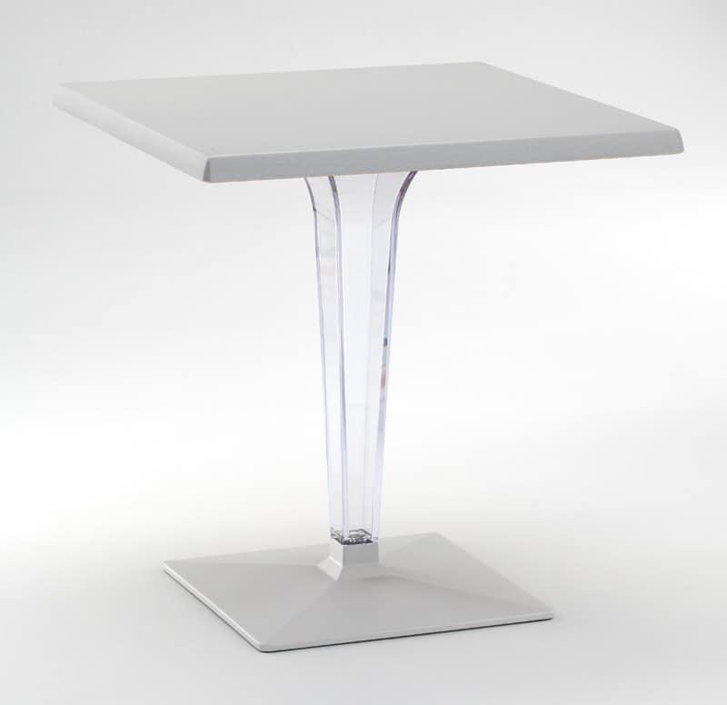 FT 718, Tavolo con base e piano in alluminio, colonna in policarbonato
