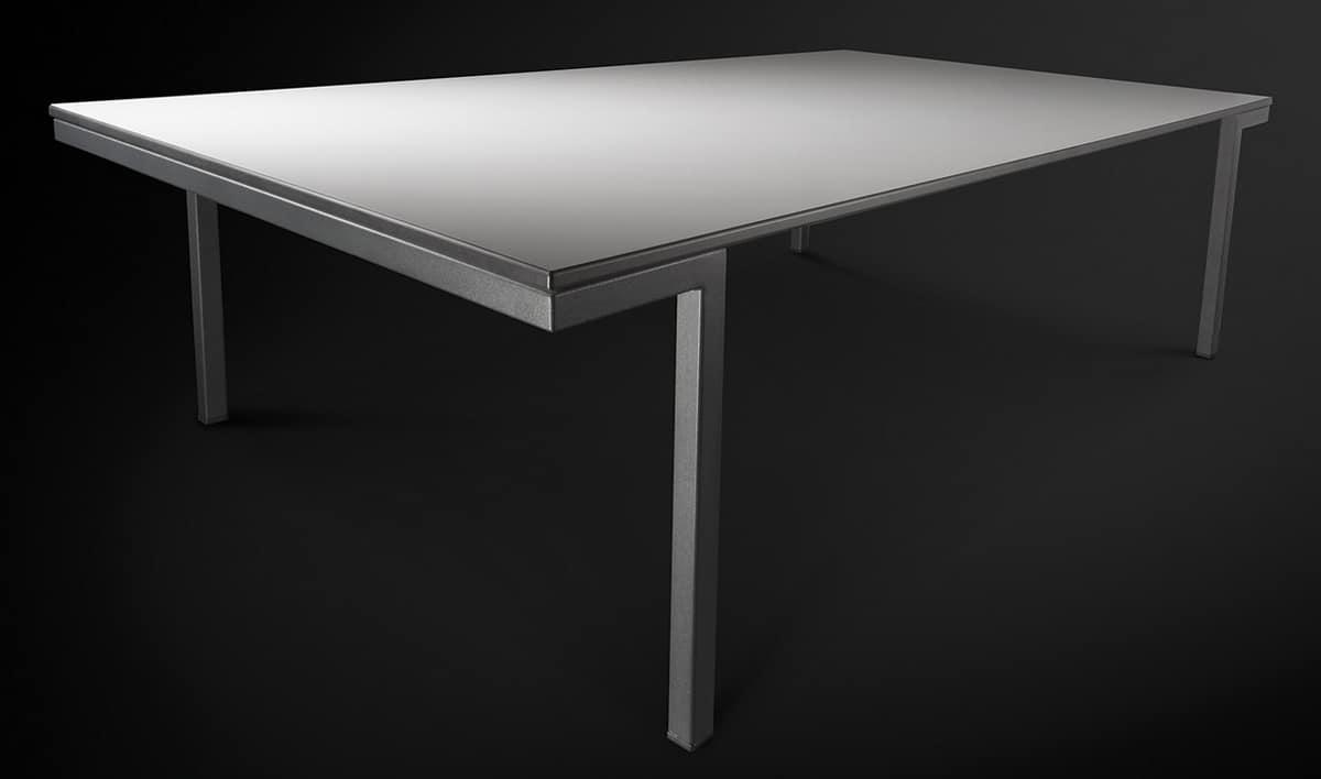 Hall, Tavolo in metallo con piano in laminato, per sala da pranzo