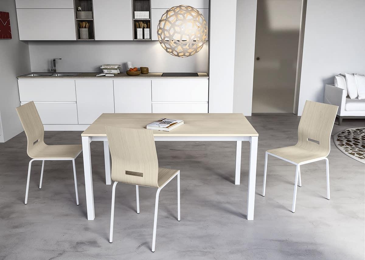 Tavolo allungabile in metallo verniciato piano in - Progetto tavolo allungabile ...