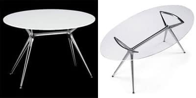 Metropolis 100x180cm, Tavolo di design in metallo con piano ovale in vetro