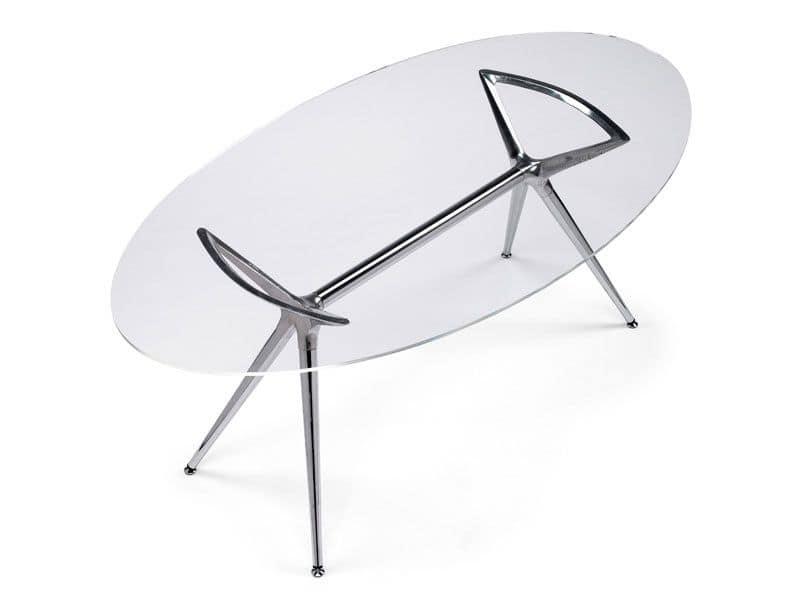 Tavolo di design in metallo con piano ovale in vetro | IDFdesign