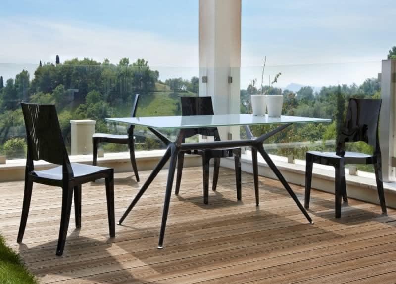 Metropolis 140X85 cm, Tavolo design in metallo con piano vetro, per esterno
