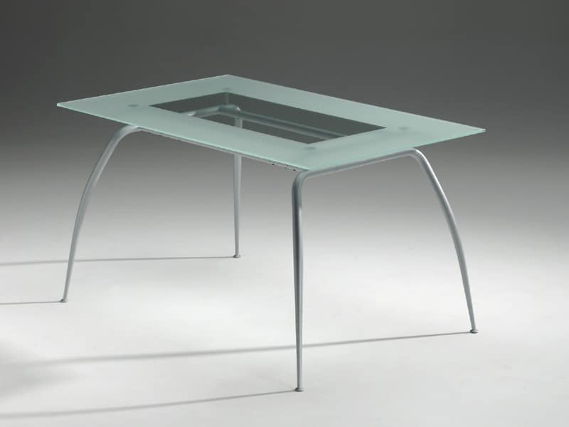 Primera table, Tavolo con piano in cristallo, moderno, residenziale