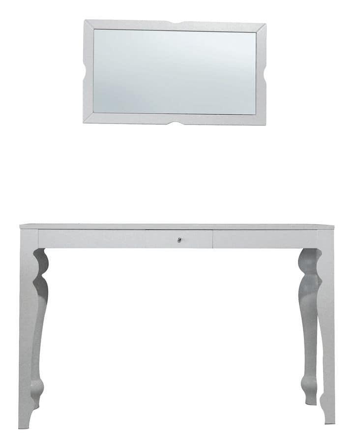 TA01, Tavolo in faggio con piano impiallacciato, specchiera in legno