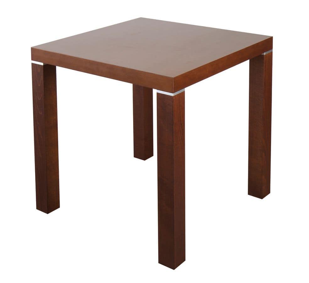Tavolo quadrato in legno con inserti in metallo idfdesign - Tavolo quadrato legno ...