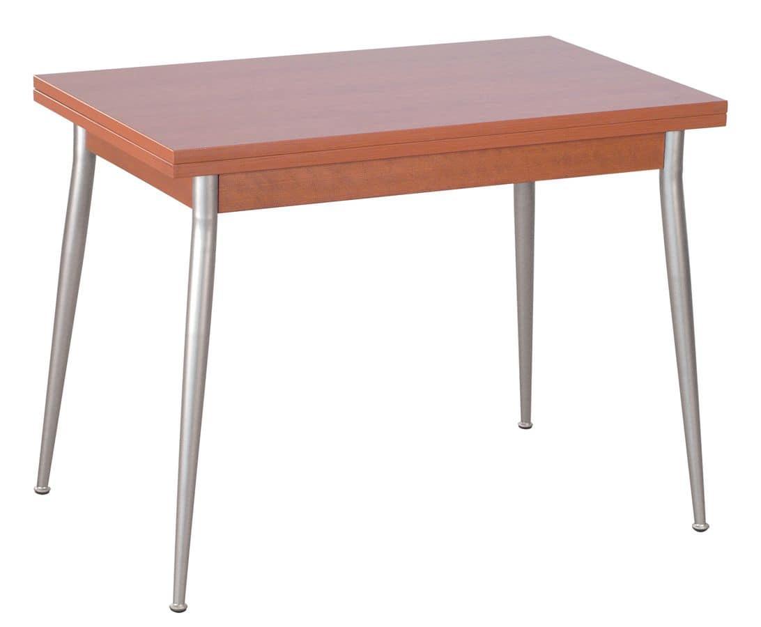 TV10, Tavolo apribile con gambe in ferro, piano in nobilitato