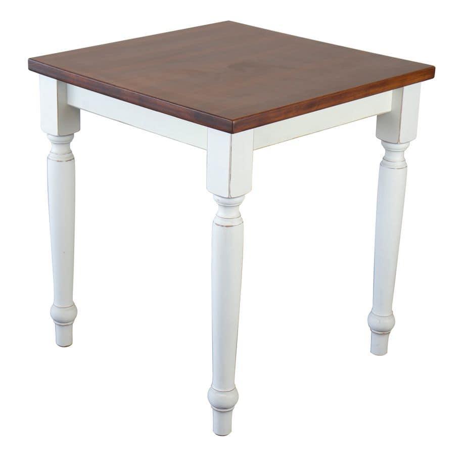 TA41, Tavolo quadrato in faggio massiccio, per ambienti rustici