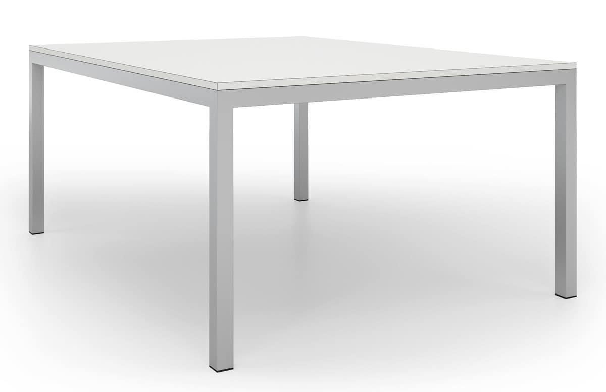 Tavolo quadrato con telaio in metallo verniciato, per uffici  IDFdesign