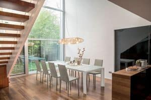 ALBA, Tavolo con piano in vetro, base in alluminio, allungabile
